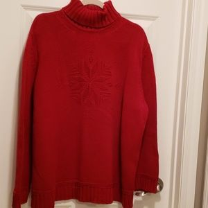Lauren red turtle neck snowflake sweater